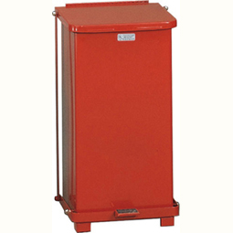 Industrial Defender Step Can Square Red 12 Gallon Waste Receptacle